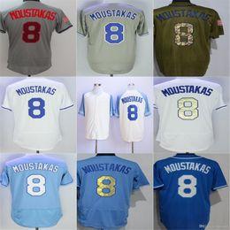 Mens Kansas 8 Mike Moustakas Jersey 2018 Nuevo Azul Verde Gris Blanco Camisetas de béisbol Tamaño de calidad superior M-3XL desde fabricantes