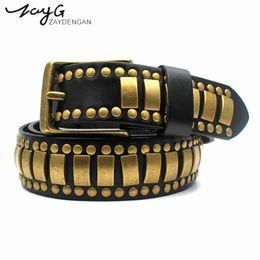 Wholesale big metal pin - ZAYG Fashion Punk Personality High Quality Genuine Leather Pin Buckle Belt Golden metal Studded Belt Vintage Wind Big Rivet