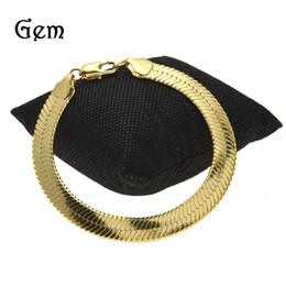 Wholesale dropshipping bracelet - 10*1.5mm New Fashion Snake Herringbone Chain Bracelet Men Women Gold&Silver Color Metal Classic Jewelry Dropshipping
