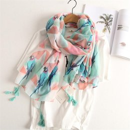 Wholesale Fresh Arts - Foreign trade fresh and elegant cotton linen art women scarves parrots printed tassels scarf large air-conditioning shawl