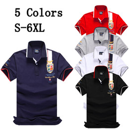 6xl t shirt mens Promo Codes - S-6XL Brand Designer New Style Mens Polo Shirts Tops Embroidery Men Short Sleeve Cotton Blend T Shirt Jerseys Polos Hot Sales Men Clothing