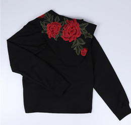 Mode Femmes Fille Casual Noir Hoodies Broderie Rose Fleur À Capuche Pulls Sweat Tops ? partir de fabricateur