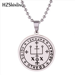 archangel pendants Promo Codes - 2019 New Stainless Steel Necklace Archangel Raphael Seal Pendant It is God Who Heals Jewelry Trendy Men's Jewelry Silver SS-0013
