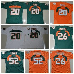 Wholesale Red Reeds - 2018 Throwback Miami Hurricanes College Football Jerseys 52 Ray Lewis 26 Sean Taylor 20 Ed Reed Green Orange Stitched Jerseys free shipping