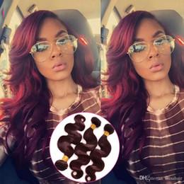 burgund rote haarfarbe Rabatt Pour Farbe Weinrot Burgundy Body Wave Haar Bundles 3 Pcs Lot Körperwelle Menschenhaarverlängerung # 99J Haar spinnt für schwarze Frau