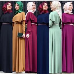 kaftan maxi kleid Rabatt Neue Mode Kaftan Kleid Muslimischen Arabischen Robe Frauen Maxi Langes Kleid mit Cape Feste Langarm Türkische Islamische Kleidung Hui Kostüme