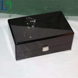 Wholesale Business Display Cases - High Grade Polished Large inclined Mouth Wood Box Business Gift Packaging Case Wristwatches Boxes Jewelry Storage Gift Display