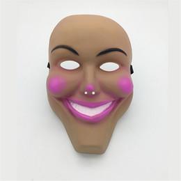 Máscara humana completa online-2 colores Plan de purga humana Scary God Mask Halloween Cosplay Party Prop Collection Cara completa Plastic Creepy Horror Película Masque