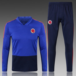 Wholesale Collared Sweater Men - 18 19 Colombia Blue Soccer Tracksuits Adult Thai Quality Football Training Suits Mens V Collar Football Sweater Long Trousers Sports Wears