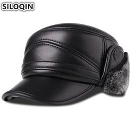 SILOQIN Sombrero de cuero genuino para hombre Winter Plus Velvet Thick  Gorra de béisbol caliente con orejeras Sombreros de cuero de piel de oveja  para ... 440f91edee4