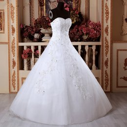 2019 vestidos brancos de mão cheia Branco / marfim A Linha de Noiva Vestidos de casamento Diamante De Noiva vestido de Renda Comprimento Total Vestido Applique feitas à mão Para A Ocasião Formal vestidos brancos de mão cheia barato