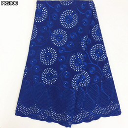 Wholesale Embroidered Cotton Voile Fabric - Royal blue Swiss voile lace fabric embroidered high quality 100% cotton African Swiss lace fabric Nigerian lace fabrics PR59
