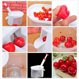 Saatgutbehälter online-Stocked Easy Kirschkernentferner Cherry Pitter Stone Corer mit Behälter Küchenhelfer Werkzeug Kochgeschirr Zubehör
