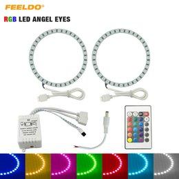 mandos a distancia volvo Rebajas FEELDO Coche RGB Multi-Color LED Angel Eyes Halo Anillo Kit de iluminación Control remoto inalámbrico para Volvo C30 2008 # 2635