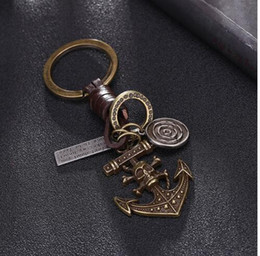 Wholesale Leather Key Fob Covers - Leather Brass Keychains Pirate Anchor Pendant For Key Men Punk Key's Ring Chain Cover Holder Car Key Fob Bag Charm Trinket