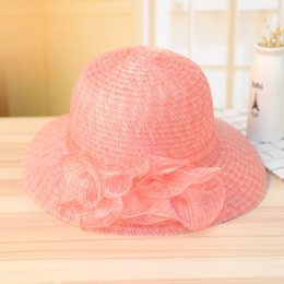 Cappello elegante estivo per le donne online-Elegante Moda Donna Cappelli Per Le Signore Estate Cappello Fiore Estate Gorras Cappello Sole Largo Bordo Cap Spiaggia Garza Decorare 11 8cc Y