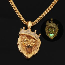 Wholesale Crown Pendant Men - Necklace Jewelry with Gold Chain Hip Hop Gold Plated night-luminous Lion Head Pendant Men Necklace King Crown Free Shipping