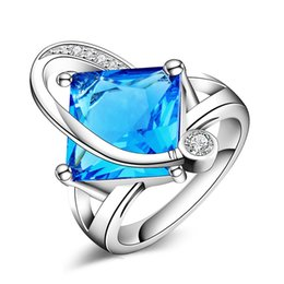 Wholesale rings kate - Top Quality Princess Kate Blue Gem Silver Plated Wedding Finger Crystal Ring Brand Jewelry for Women R80