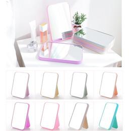 folhas de plástico redondas Desconto Espelho de maquilhagem dobrável - Espelho de mesa rectangular para mulheres Beleza - Acessórios de ferramentas de maquilhagem (20.5cm x 14cm)