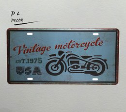 """Wholesale Metal Picture Prints - DL-""""vintage motorcycle """" License plate metal Sign wall pictures for living room posters and prints wall decals"""