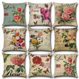 """Wholesale Cushion Covers 18 - Rose Flower Sofa Waist Cushions Pillow Case Cover Decoration Cotton and Linen Pillowcases 18""""X18"""" Birthday Party Halloween Christmas"""
