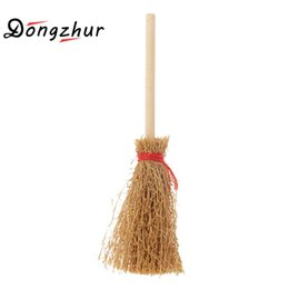 Wholesale Wholesale Witches Brooms - Wholesale- 1:12 Dollhouse Miniature Wooden Broom Wicca Witch Kitchen Garden Miniature Doll House Accessory Kit Dropship