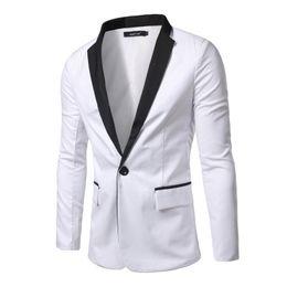 peggiore abiti da sposa Sconti Giacca sportiva da uomo primavera e autunno 2018 Blazer slim fit Blazer da uomo a un bottone Gentleman Casual bianco