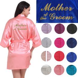Mère du marié impression d'or courte plaine de soie Satin Robe Cheep Robes de soirée de mariage Kimono en soie peignoir Party Favors cadeau pour maman ? partir de fabricateur