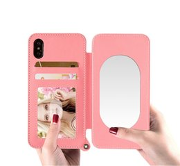 Wholesale Making Lanyard - Make Up Wallet Mirror Case For iPhone Samsung 4.7 5.5 Inch Phone Protector Woman Bags Card Slot With Lanyard Cover