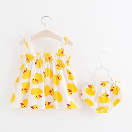 Wholesale England Suspenders - Yellow Duck Baby Girls Vest Dress with Underpants Summer 100% Cotton Infant Toddler Elastic Beach Skirt Outfits 6M-3T INS Fashion Cute