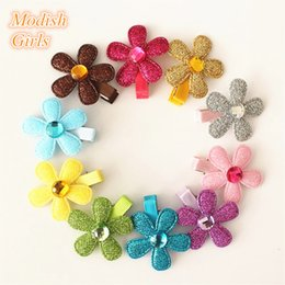 Wholesale Hairpins For Kids - Floral Hair Clips For Kids Free Shipping 30pcs Lot Girls Princess Glitter Felt Shapes Hair Clips Star Shape Pink Flower Hairpins