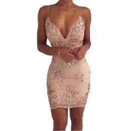Spandex usa vestido sem costas on-line-Das mulheres de ouro preto lantejoulas verão dress sexy decote em v sem encosto mulheres vestido de festa de luxo club wear mini vestidos vestidos novos
