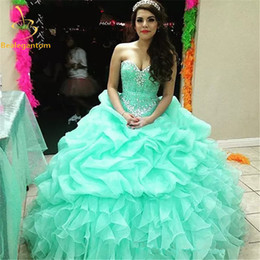 Wholesale Sweet 15 Dresses Cheap - 2017 New In Stock Ball Gown Cheap Quinceanera Dresses Organza With Beads Sequined Sweet 16 Dress For 15 Years Debutante Gown