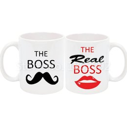 Wholesale Ceramic Coffee Mug Sets - Funny The Boss The Real Boss Mug Set Novelty His Her Couple Coffee Cup Set White Ceramic Moustache Lip Wedding Valentine Gifts