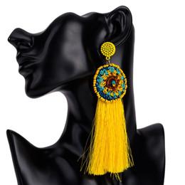 2019 fil de soie jaune Ethnique Vintage Jaune Long Tassel Hoop Boucles D'oreilles Maxi Coton laine Fil De Soie Bohe Grande Fleur Perles Boucles D'oreilles Pour Les Femmes Bijoux fil de soie jaune pas cher