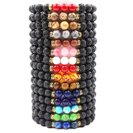 Mujeres de la moda rock online-Nueva Lava Rock Stone Beads Pulsera Chakra Encanto de Piedra Natural Difusor de Aceite Esencial Cadena de Cuentas Para mujeres Hombres Joyería de Moda Artesanía