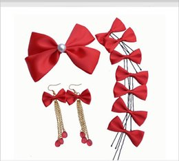 Wholesale Hair Claw Korean - Bridal ornaments, Korean, Korean, butterfly knot, eight pieces of silk bow bridal headwear