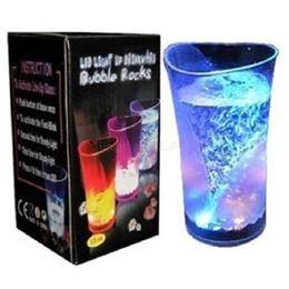 Wholesale music mugs - 20pcs Inductive Rainbow Color Vase Cup Flashing LED Luminous Beer Wine Cups Acrylic Glasses Drinking Water Light up Mug MMA179