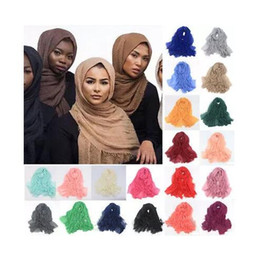 Wholesale maxi scarves plain - Women Maxi Hijabs Shawls Oversize Islamic Head Wraps Soft Long Muslim Frayed Crepe Premium Cotton Plain Hijab Scarf B11