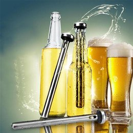 Wholesale Cold Bottles - New Arrival Stainless Steel Wine Liquor Chiller Cooling Ice Stick Rod In-Bottle Pourer Beer Chiller Stick Chill Alcohol Ice Drinks Wine Cold
