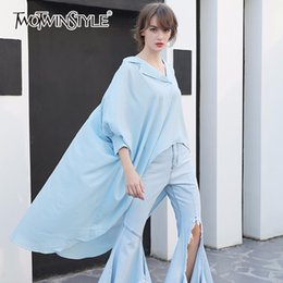 Wholesale Asymmetrical Shirts For Women - TWOTWINSTYLE Asymmetrical Shirt For Women V Neck Long Sleeve High Waist Pullover Shirts Female Spring Fashion 2018 Clothing