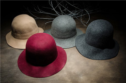 Wholesale Dome Round Hat - Round Wide Cornices Woolen Wooly Leisure Femininity Party Hat Can Be Used To Warm The Cold