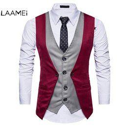 Wholesale Fake Brand Dresses - Laamei Brand Fashion Fake Two Piece Vest Men Single Breasted Men Dress Suit Vests Male Formal Slim Business Wedding Waistcoat
