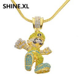 Wholesale Large Pendants Jewelry - Hip Hop Iced Out Gold Plated Large Size Cartoon Game Pendant Necklace Bling Bling Jewelry for Men & Women