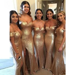 Wholesale Party Dresses For Cheap - Sexy Mermaid Off-the-Shoulder Champagne Sequined Bridesmaid Dress with Split Sequin Elegant Long Cheap Bridesmaid Dresses for Wedding Party