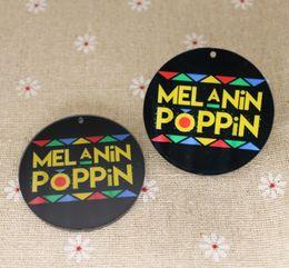 fil de soie jaune Promotion Mélanine Poppin Earrings Charm Impression sur 2 faces colorées Personnalisez votre propre photo ou texte 5mm 10prs / lot