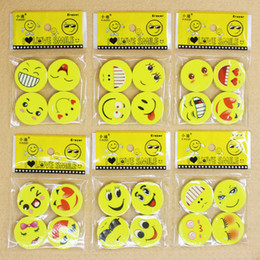 Wholesale Face Eraser - 2.5CM Lovely smiling face Emoji Eraser Cute Rubber Correction Pencil0 Erasers Student Stationery School Supplies Kids Gift Promotion