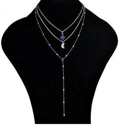 Collana a catena a catena a tre strati con nappe a forma di catena a forma di luna e clavicola lunare a catena multi-strato supplier y beads da y perline fornitori