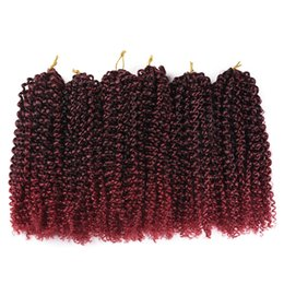"""Wholesale Freetress Hair - 6Packs Lot Marlibobo Jerry Curly Crochet Twist Braiding Hair Extensions 8""""10""""12"""" 24Strands Pack Ombre Synthetic Freetress Marely Braids Hair"""