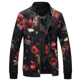 2019 цветочное весеннее пальто 2018 весна осень куртка-бомбер с цветочным принтом мода Slim Fit мужские случайные куртки с длинным рукавом мужские ветровка пальто мужской скидка цветочное весеннее пальто
